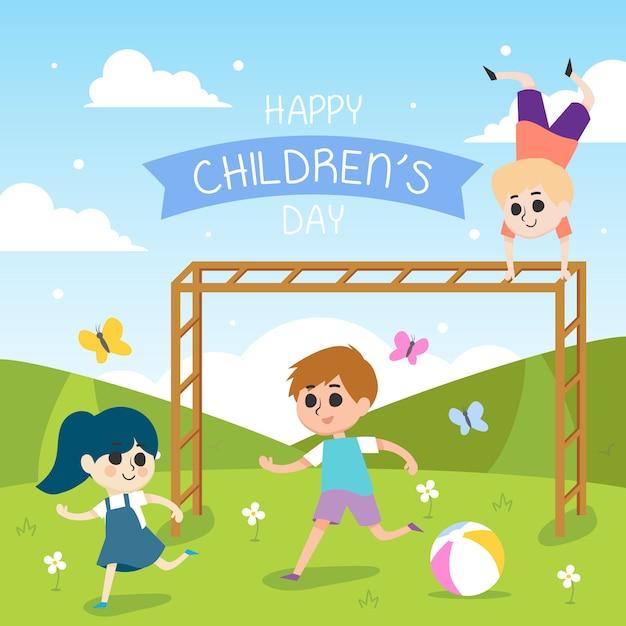 Szczęśliwa dzień dziecka ilustracja z działającymi dziećmi Premium Wektorów