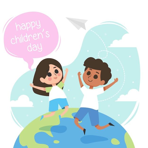 Szczęśliwa dzień dziecka ilustracja z dziećmi skacze w świacie Premium Wektorów