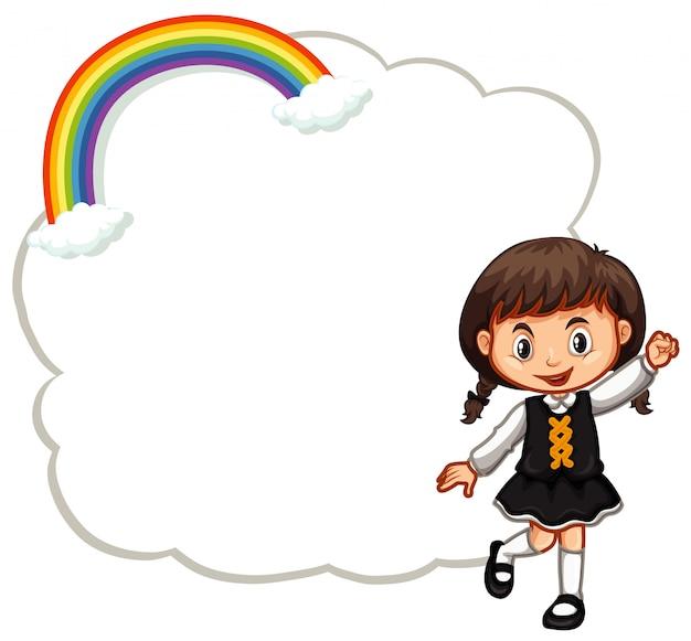 Szczęśliwa dziewczyna i chmura ramki Darmowych Wektorów