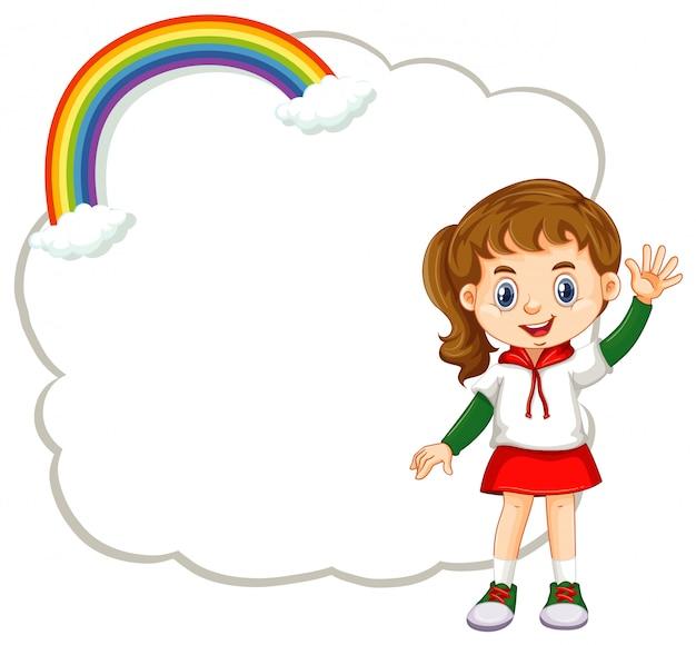 Szczęśliwa dziewczyna i chmura transparent Darmowych Wektorów