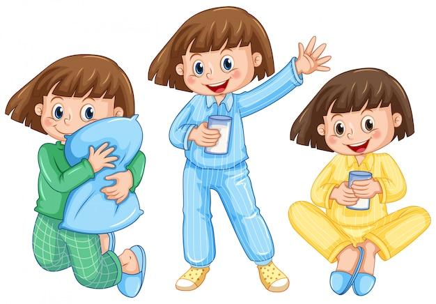 Szczęśliwa Dziewczyna Na Różnej Piżamie Premium Wektorów