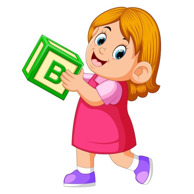 Szczęśliwa Dziewczyna Trzyma Kostkę Alfabetu Premium Wektorów