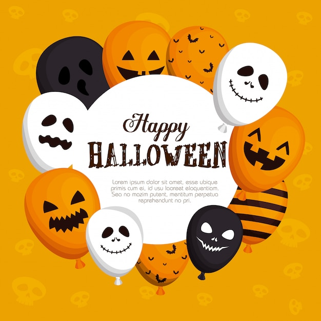 Szczęśliwa halloween rama z balonami h Darmowych Wektorów