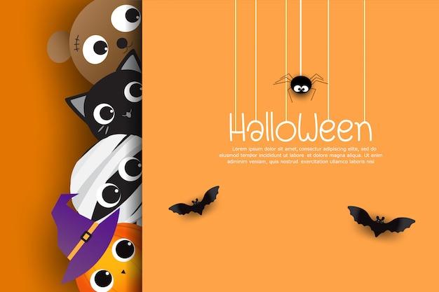 Szczęśliwa halloweenowa kartka z pozdrowieniami śliczna kreskówka Premium Wektorów
