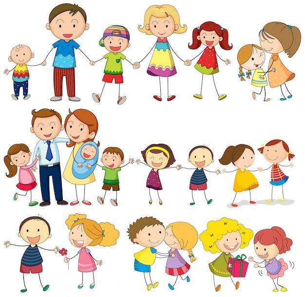 Szczęśliwa i kochająca rodzina Darmowych Wektorów