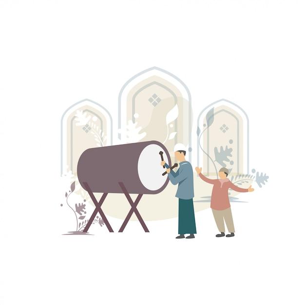 Szczęśliwa ied mubarak powitań pojęcia ilustracja Premium Wektorów