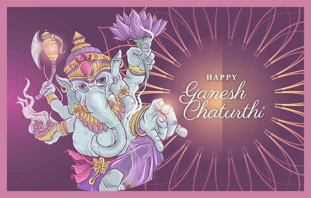 Szczęśliwa Ilustracja Ganesh Chaturthi Premium Wektorów