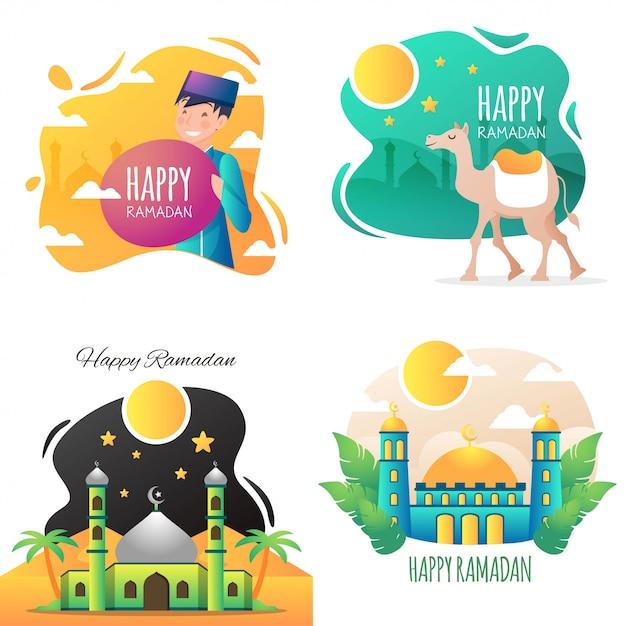 Szczęśliwa ilustracja ramadan Premium Wektorów