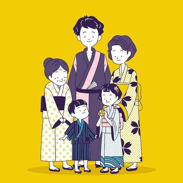 Szczęśliwa Japońska Rodzina Na Sobie Tradycyjne Stroje Darmowych Wektorów
