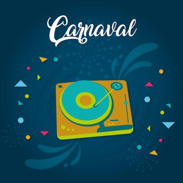 Szczęśliwa Karnawałowa Karta Z Dekoracyjnymi Elementami Premium Wektorów