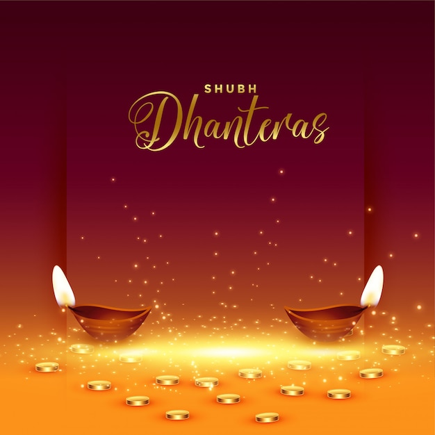 Szczęśliwa karta dhanteras ze złotą monetą i diyą Darmowych Wektorów