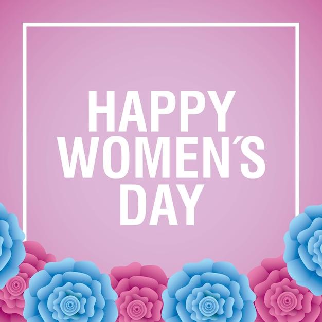 Szczęśliwa Karta Dzień Kobiet Premium Wektorów