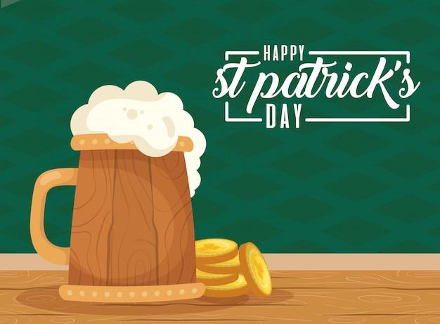 Szczęśliwa Karta Dzień świętego Patryka Z Piwem Premium Wektorów