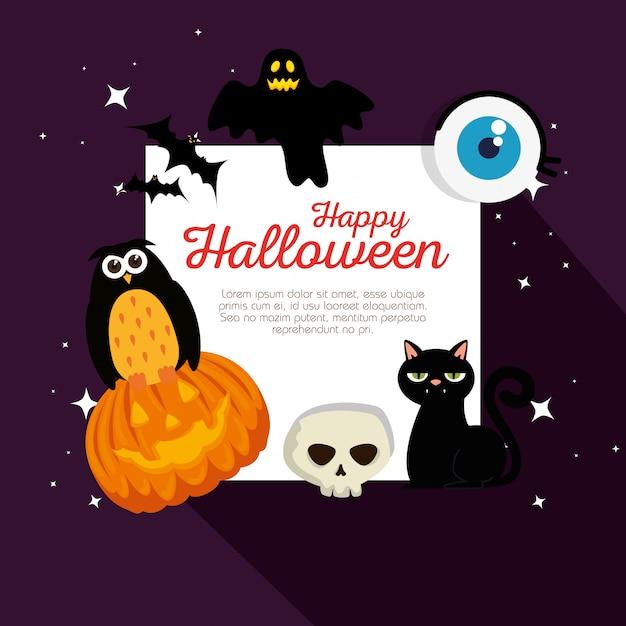 Szczęśliwa karta halloween Darmowych Wektorów
