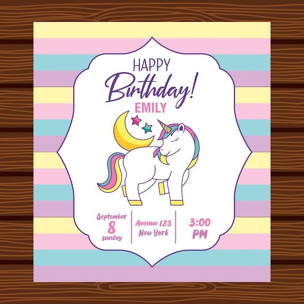 Szczęśliwa karta urodzinowa z jednorożcem Premium Wektorów