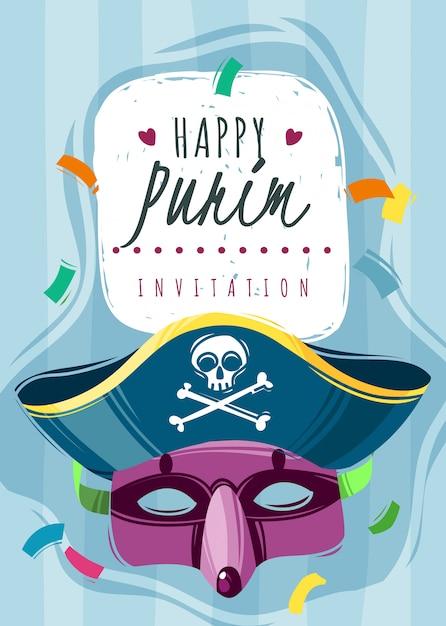 Szczęśliwa Karta Zaproszenie Purim Z Maską I Kapeluszem Pirata Premium Wektorów