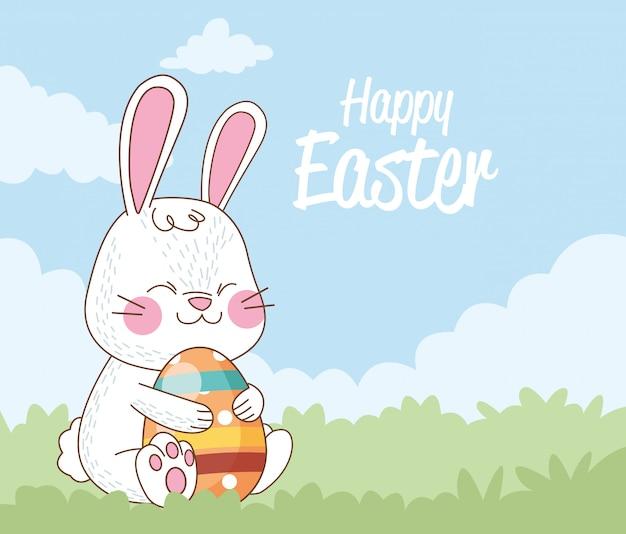 Szczęśliwa Kartka Wielkanocna Z Królika I Jajka Malowane Premium Wektorów