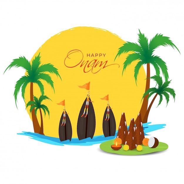 Szczęśliwa Koncepcja Onam Z Thrikkakara Appan Idol, Aranmula Boat Race I Palmami Na Tle Creative Sunrise Lub Sunset River. Premium Wektorów