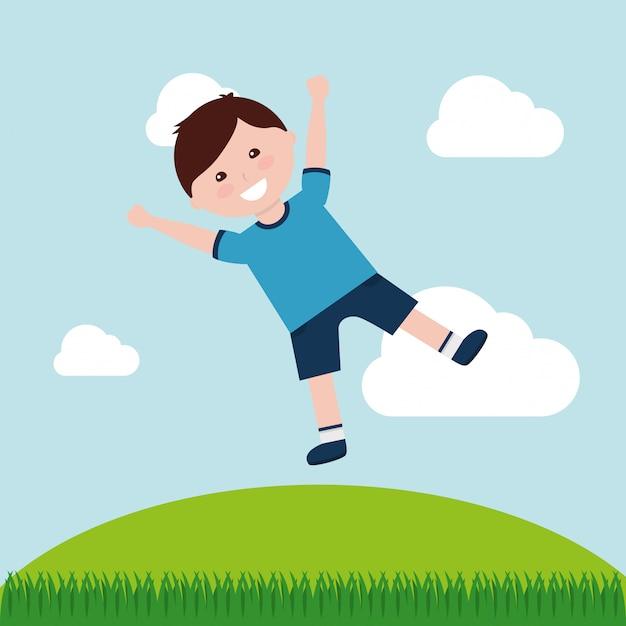 Szczęśliwa Kreskówka Dla Dzieci Premium Wektorów