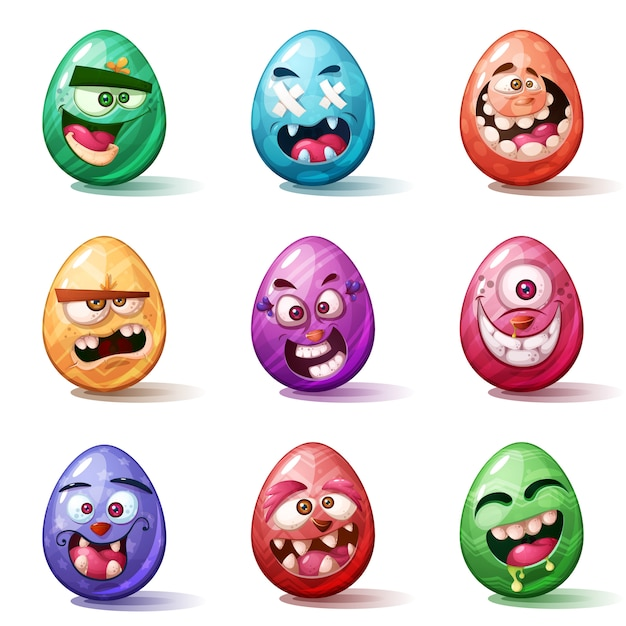 Szczęśliwa Kreskówka Wielkanoc Premium Wektorów