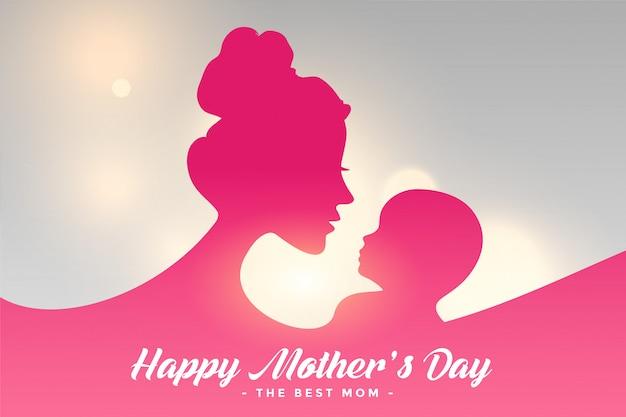 Szczęśliwa Matka Dnia Karta Z Mamy I Dziecka Powiązania Tłem Darmowych Wektorów