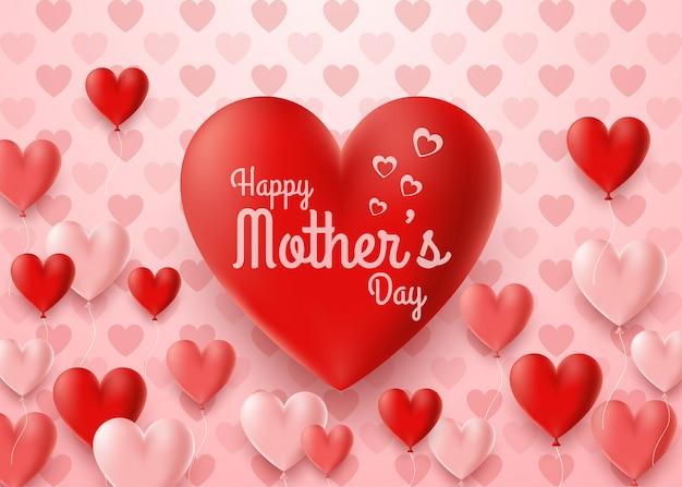 Szczęśliwa Matka Dnia Karta Z Serce Balonu Tłem Premium Wektorów