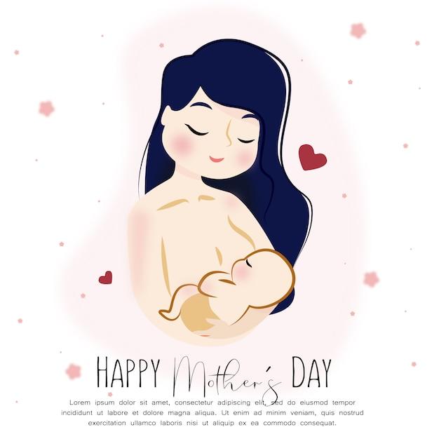 Szczęśliwa Matka Dzień Dziecka Premium Wektorów