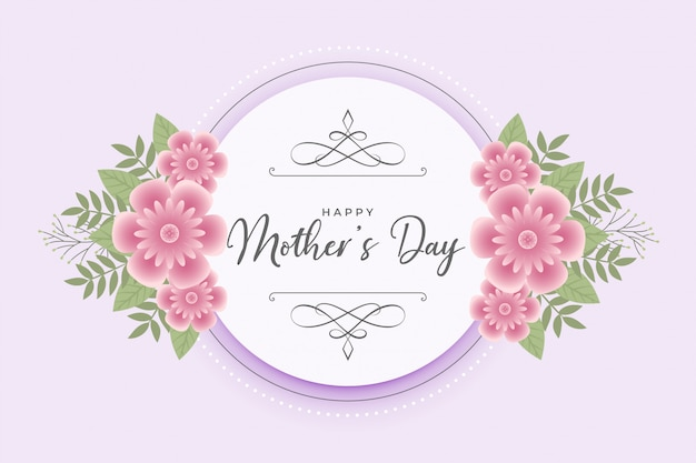 Szczęśliwa Matka Dzień Kwiat życzenia Karty Darmowych Wektorów