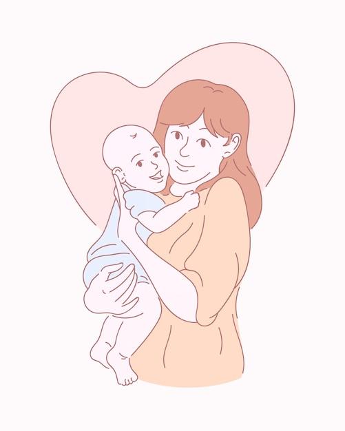 Szczęśliwa Matka Z Dzieckiem. Ręcznie Rysowane Ilustracji Premium Wektorów