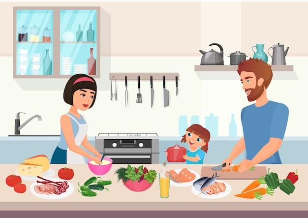 Szczęśliwa Młoda Rodzina Gotowania. Ojciec, Matka I Córka Dziecko Gotować Potrawy W Kuchni Kreskówki. Premium Wektorów