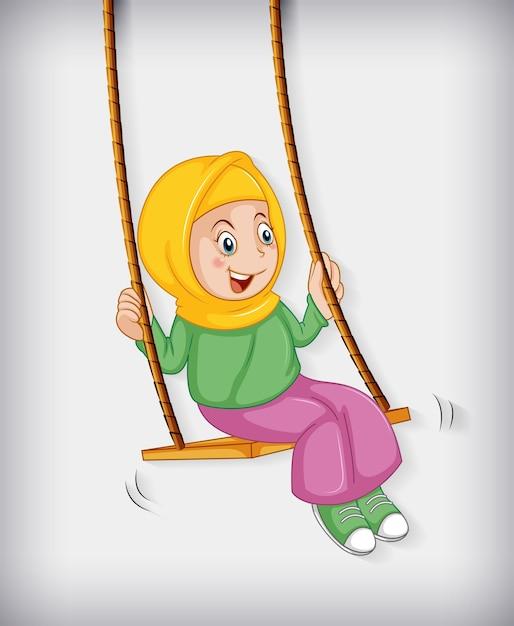 Szczęśliwa Muzułmańska Dziewczyna Siedzi Na Huśtawce Darmowych Wektorów
