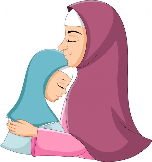 Szczęśliwa Muzułmańska Matka ściska Jej Córki Premium Wektorów