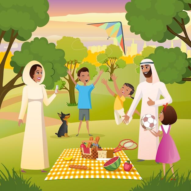 Szczęśliwa muzułmańska rodzina na pikniku w miasto parka wektorze Premium Wektorów