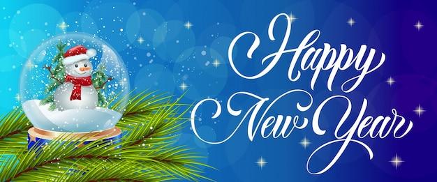 Szczęśliwa Nowy Rok Kaligrafia Z śnieżną Kulą Ziemską Darmowych Wektorów