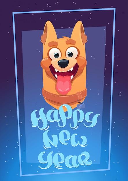 Szczęśliwa nowy rok karta z psim błękitnym tłem Premium Wektorów