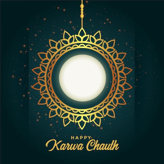 Szczęśliwa ozdoba karwa chauth z pełni księżyca Darmowych Wektorów