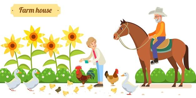 Szczęśliwa Para Starszych Ze Zwierzętami I Ptakami W Ekologicznym Gospodarstwie Wiejskim Premium Wektorów
