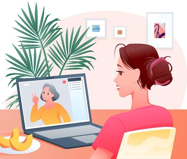 Szczęśliwa Postać Kobiety Robi Wideokonferencję Na Czacie Z Matką, Rodzinną Rozmowę Wideo Premium Wektorów