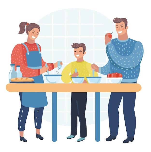 Szczęśliwa Rodzina Gotuje Razem Jedzenie W Kuchni, Naczynia Kuchenne, Naczynia, Dom, Dom, Pokój Premium Wektorów