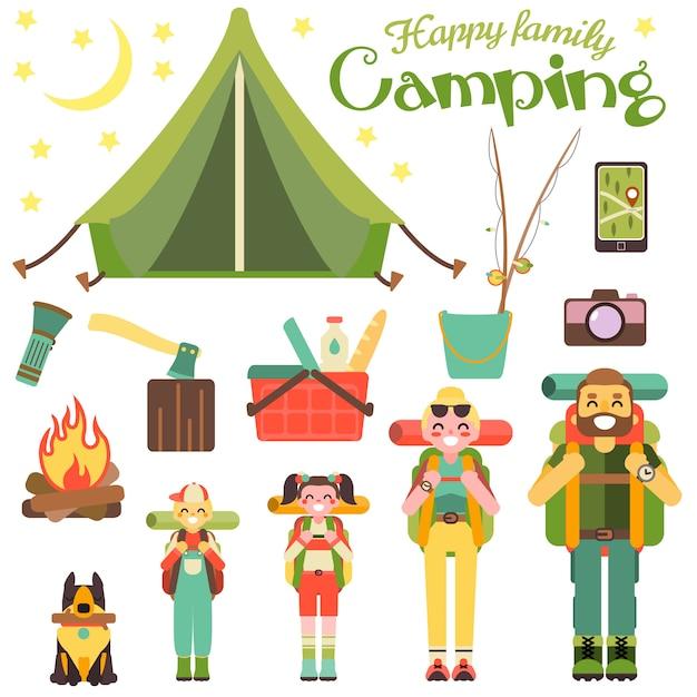 Szczęśliwa rodzina idź na kemping. ilustracja wektorowa w stylu płaski. Premium Wektorów