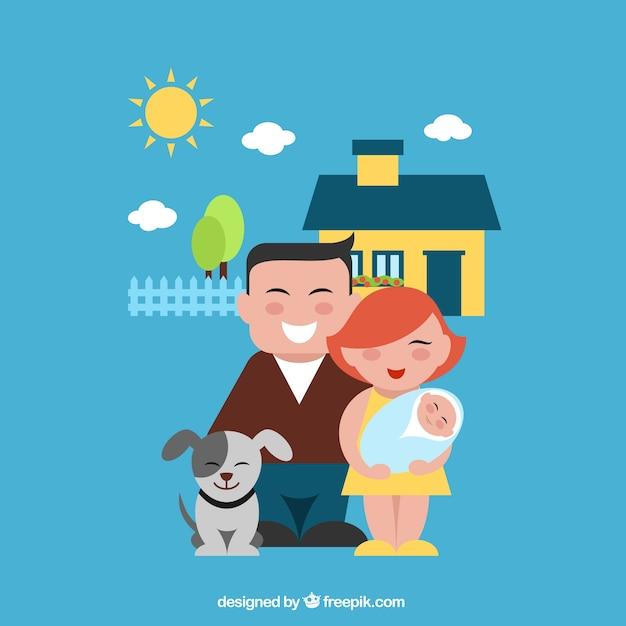 Szczęśliwa rodzina ilustracji Darmowych Wektorów