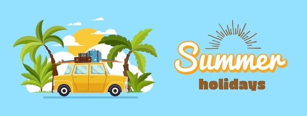 Szczęśliwa rodzina jazdy samochodem w weekendowe wakacje Premium Wektorów