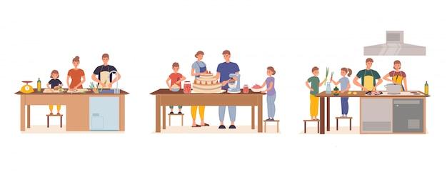 Szczęśliwa Rodzina Ma Dzieci Gotuje Wpólnie Ustawia Premium Wektorów