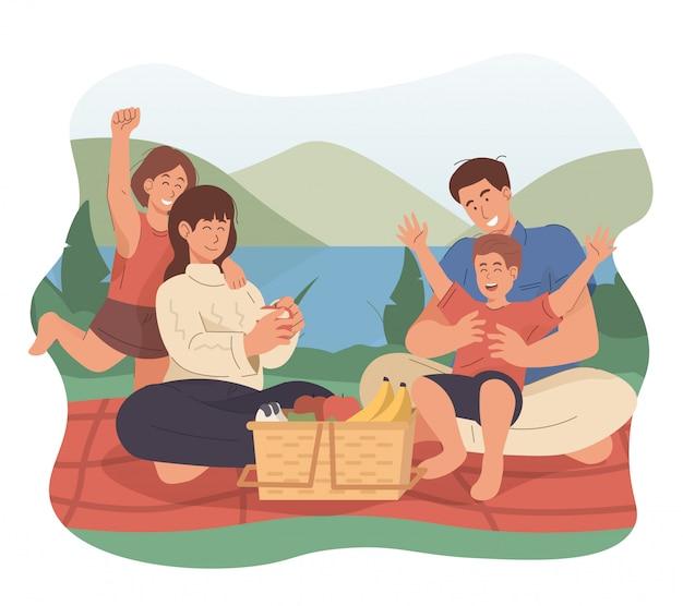 Szczęśliwa Rodzina Ma Pinkin W Parku Premium Wektorów