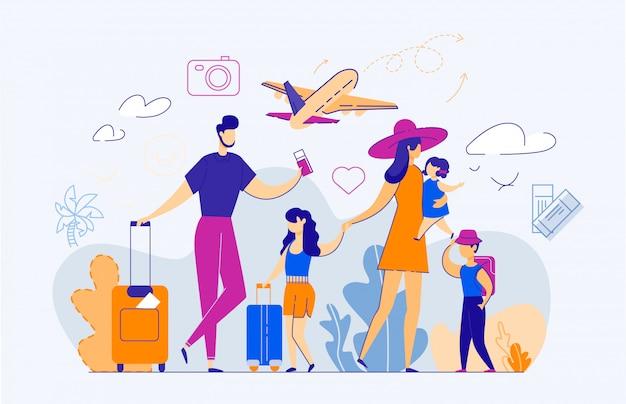 Szczęśliwa rodzina pięciu osób na lotnisku. Premium Wektorów