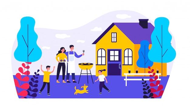 Szczęśliwa Rodzina Robi Grillowi Przy Ogrodową Ilustracją Premium Wektorów