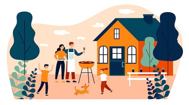 Szczęśliwa Rodzina Robi Grillowi Przy Ogrodową Płaską Wektorową Ilustracją Premium Wektorów
