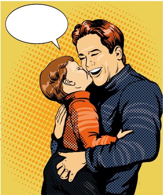 Szczęśliwa rodzina. syn całuje ojca Premium Wektorów