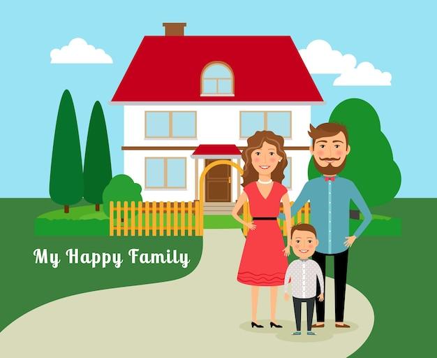 Szczęśliwa Rodzina W Pobliżu Domu. Ojciec Matka I Syn, A Dom Z Czerwonym Dachem. Ilustracji Wektorowych Darmowych Wektorów