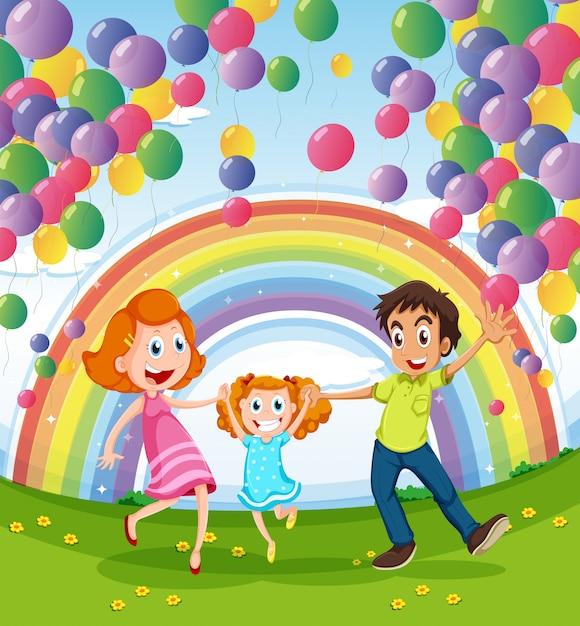 Szczęśliwa rodzina w pobliżu tęczy i balonów Darmowych Wektorów